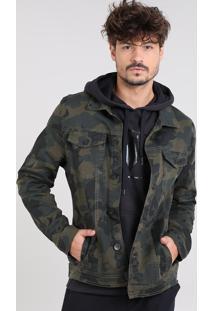 Jaqueta De Sarja Masculina Estampada Camuflada Com Bolsos Verde Militar