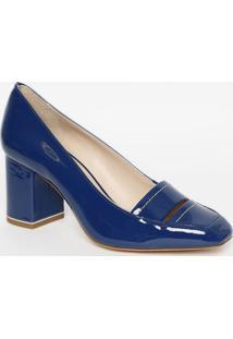 Sapato Tradicional Em Couro- Azul Escuro- Salto: 8Cmjorge Bischoff
