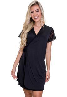 Camisola Amamentação Com Robe Em Microfibra E Renda Preta - Es206-207