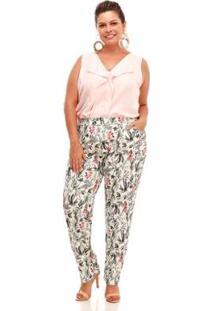 Calça Conforto Plus Size Floral Feminina - Feminino-Verde