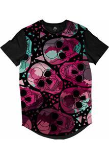 Camiseta Bsc Longline Caveira Arabesco 2 Sublimada Preta Rosa