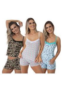 Pijama Para Dormir Thais Kit 3