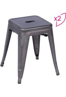 Jogo De Banquetas Retrô- Bronze- 2Pçs- Or Designor Design