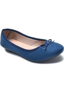Sapatilha Matelassê Bico Redondo Feminina - Feminino-Azul