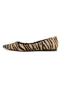 Sapatilha Bico Fino Couro Pelo Zebra Natural