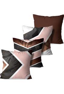 Kit Com 4 Capas Para Almofadas Pump Up Decorativas Estampa Abstrato E Geomã©Trico Linhas E Formas 45X45Cm - Marrom - Dafiti