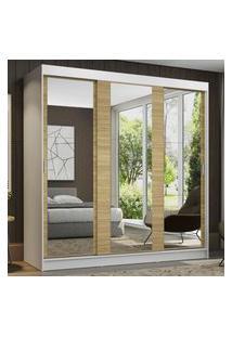 Guarda-Roupa Casal Madesa Reno 3 Portas De Correr De Espelho - Branco/Carvalho Marrom