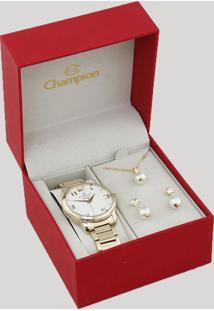 Kit De Relógio Analógico Champion Feminino + Colar + Brinco - Cn26028W Dourado - Único