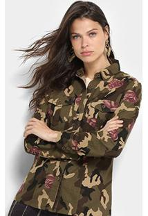 Camisa Lily Fashion Manga Longa Estampa Camuflada Floral Feminina - Feminino-Verde Militar