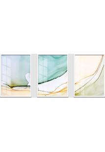 Quadro 60X120Cm Abstrato Rutilo Moldura Branca Sem Vidro Decorativo Interiores