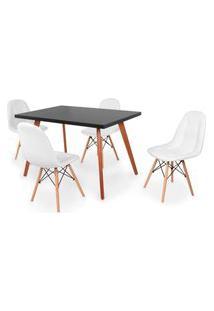 Conjunto Mesa De Jantar Gih 120X80Cm Preta Com 4 Cadeiras Botonê - Branco