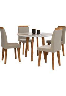 Conjunto Mesa De Jantar Turmalina Branco 1,08X1,08 C/ 4 Cadeiras Rv Mã³Veis - Branco - Dafiti