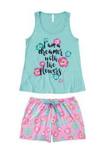 Pijama Curto Regata Floral Color Malwee Liberta (1000059808) 100% Algodão