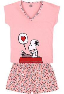 c5fa43ad3664d8 Pijama Hering Feminino Curto Estampado Conforto Snoopy Algodão Em Malha De E