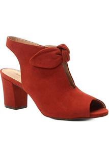 Sandália Couro Shoestock Laço Nobuck Feminina - Feminino-Caramelo