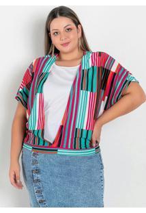 Blusa Listrada Com Forro E Mangas Plus Size