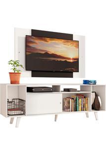 Rack Madesa Cancun E Painel Para Tv Atã© 58 Polegadas Com Pã©S - Branco/Preto 09C7 Branco - Branco - Dafiti