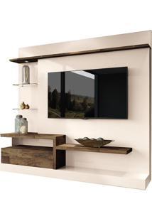 Estante Home Theater Paládio Para Tv Até 60 Pol Off White E Deck Hb Móveis