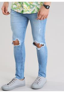 Calça Jeans Super Skinny Cropped Destroyed Azul Claro