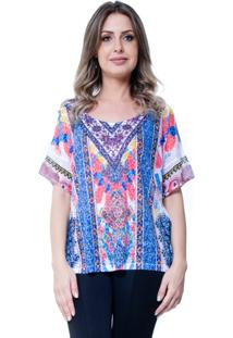 Blusa 101 Resort Wear Basica Étnico Azul