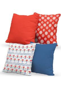 Kit 4 Capas De Almofadas Decorativas Own Flores Vermelho E Azul 45X45 - Somente Capa