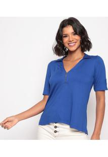 Blusa Lisa Com Zíper- Azul Escuro- Thiptonthipton