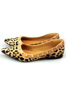 Sapatilha Love Shoes Bico Fino Valentino Spike Sued Onça