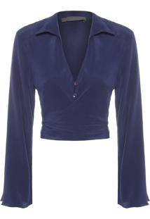 Camisa Feminina Amarração - Azul Marinho