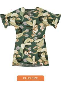 Vestido Plus Size Estampado Secret Glam Verde