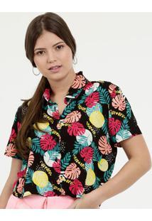 Camisa Feminina Cropped Estampa Folhas Marisa