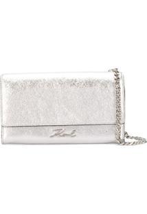 Karl Lagerfeld K/Signature Metallic Shoulder Bag - Prateado