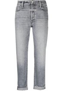 Mother Calça Jeans Cropped Cintura Alta - Cinza