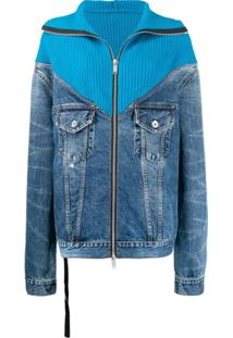 Unravel Project Jaqueta Jeans Com Recorte Canelado - Azul