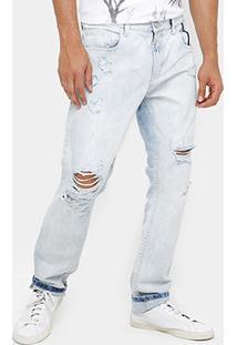 Calça Jeans Slim Ellus 2Nd Floor Destroyed Stone Masculina - Masculino