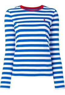 653845093835b ... Polo Ralph Lauren Camiseta Listrada Mangas Longas - Azul
