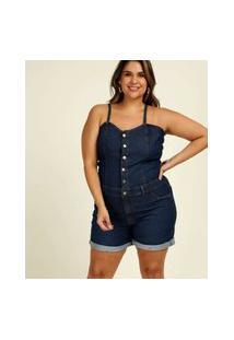 Macaquinho Plus Size Feminino Jeans Alças Finas