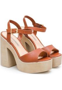 Sandália Napa Dubai Plataforma Sapatinho De Luxo Feminina - Feminino-Marrom