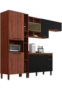 Cozinha Modulada Compacta 5 Peças Viv Concept C01 Nogueira/Black - Kit