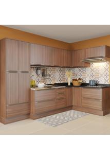 Cozinha Completa 16 Portas 4 Gavetas 5462R Nogueira/Malt - Multimóveis