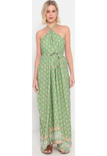 Vestido Longo Folhagens - Verde Claro & Laranja - Lala Concha