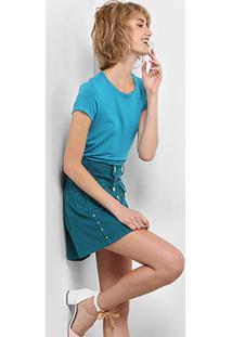 Camiseta Drezzup Evasê Feminina - Feminino-Azul