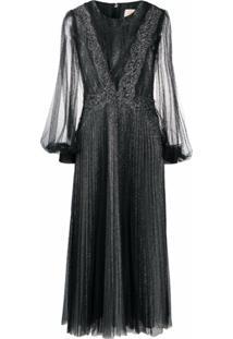Christopher Kane Vestido Com Pregas, Tule E Brilho - Preto
