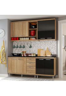 Cozinha Compacta 4 Peças Com Tampo 5819-S10T - Sicília - Multimóveis - Argila / Preto