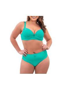 Conjunto De Calcinha E Sutiã Sigh Plus Size Renda Verde Claro