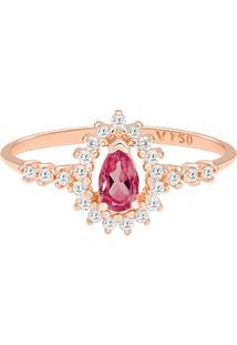Anel Ouro Rosã© Rodolita E Diamantes