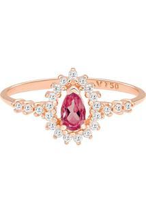 Anel Ouro Rosé Rodolita E Diamantes