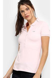 Camisa Polo Lacoste Manga Curta Botões Feminina - Feminino-Rosa Claro