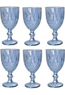 Conjunto Com 6 Taças De Vidro Bon Gourmet Para Água Greek Azul