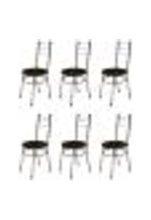Kit 6 Cadeiras Baixas 0.236 Redonda Cromado/Marrom Escuro - Marcheli