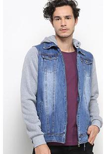 Jaqueta Jeans Kappa Masculina - Masculino-Azul+Cinza